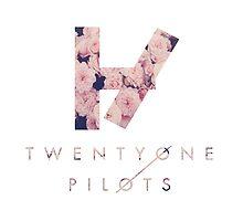 Twenty One Pilots Logo & Text Pink Roses by ninagi