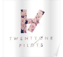Twenty One Pilots Logo & Text Pink Roses Poster
