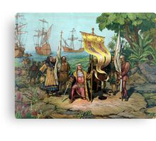 Columbus Taking Possession Of The New Country Canvas Print