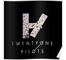 Twenty One Pilots Logo & Text Pink Daisies  Poster