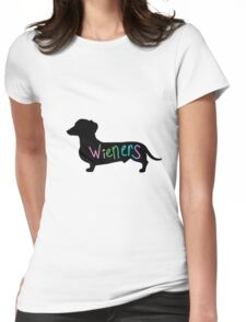 Wieners funny wiener dog dachshund silhouette rainbow Womens Fitted T-Shirt