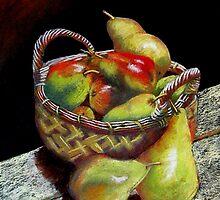 Pears and Apples  Pastel painting by sandysartstudio