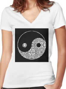 Perfect Balance 2 - Yin and Yang Stone Rock'd Art by Sharon Cummings Women's Fitted V-Neck T-Shirt