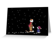 Calvin and Hobbes meet starry night snow Greeting Card