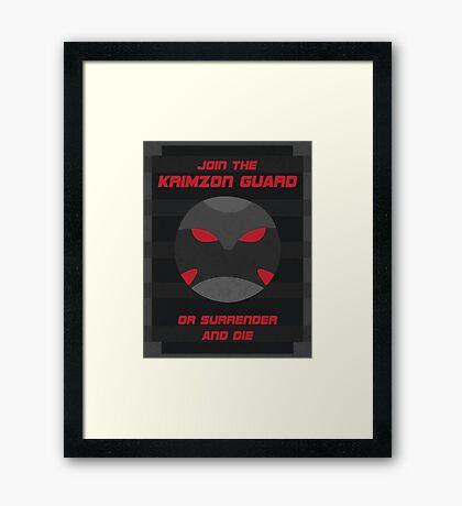 Krimzon Guard Propaganda Framed Print