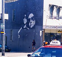 Black wall Red taxi by Juilee  Pryor