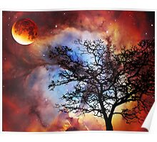 Night Sky Landscape Art By Sharon Cummings Poster