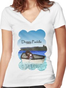 Doggy Paddle Women's Fitted V-Neck T-Shirt