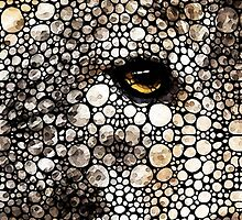 Stone Rock'd Wolf Art by Sharon Cummings by Sharon Cummings