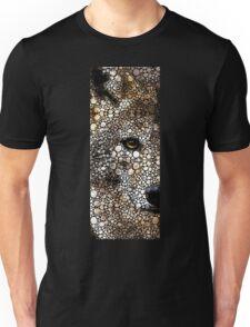 Stone Rock'd Wolf Art by Sharon Cummings Unisex T-Shirt
