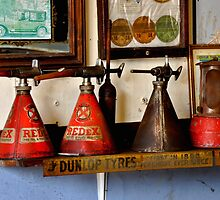 Old Oil Cans by Karen  Betts
