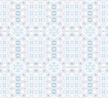 White, Blue and Pink Abstract Design Pattern by Mercury McCutcheon