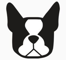 boston terrier face silhouette in black and white Baby Tee