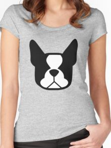 boston terrier face silhouette in black and white Women's Fitted Scoop T-Shirt