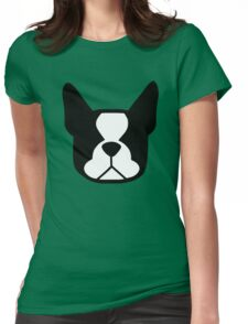 boston terrier face silhouette in black and white Womens Fitted T-Shirt