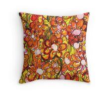Orange Florals Throw Pillow