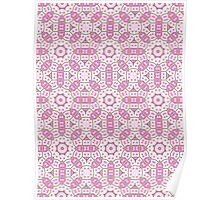 Pink, Green and White Abstract Design Pattern Poster