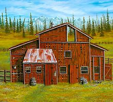 Red Barn in the wilderness by ARTIST4HIRE