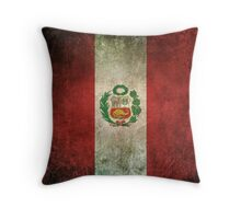 Old and Worn Distressed Vintage Flag of Peru Throw Pillow