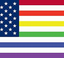 US Flag Rainbow LGBTQ by Seaweed4