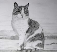 Cat On Fencepost by KarenWoodArt