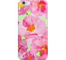 Bright pink and green watercolor flower pattern iPhone Case/Skin