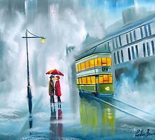 SAYING GOODBYE rainy day umbrella painting by gordonbruce