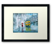 SAYING GOODBYE rainy day umbrella painting Framed Print