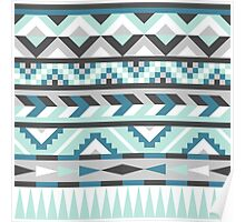 Teal Mint and Grey Aztec Design Poster
