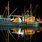 Lakes Entrance Fishing Boats (At night) by John Vandeven