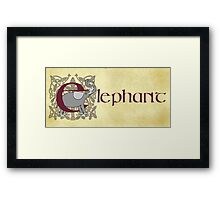 E is for Elephant - Manuscript Page V1.0 Framed Print