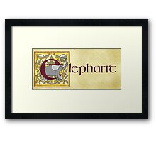 E is for Elephant - Manuscript Page Gold Framed Print