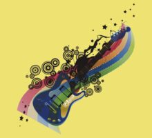 Red Hot Colour Trails Guitar by jay007