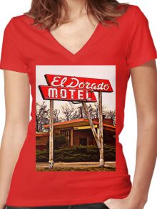 El Dorado Motel T-Shirt Women's Fitted V-Neck T-Shirt