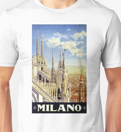 Milano Italy Vintage Travel Poster Restored Unisex T-Shirt