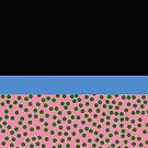 Modern Polka Dots Blue Green Orange Black by Melissa Park