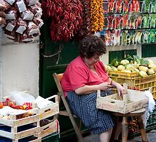 Stringing Peppers by phil decocco