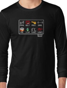 The Lifter's Inventory - Gym Equipment Pixel Art Long Sleeve T-Shirt