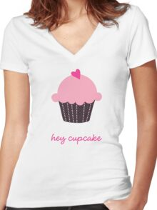Hey Cupcake Women's Fitted V-Neck T-Shirt
