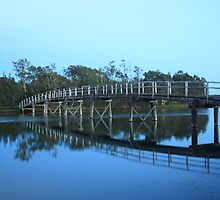 Foot Bridge over Budgewoi Lake by Geoff Stone