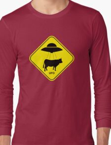 UFO traffic hazard sign Long Sleeve T-Shirt