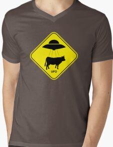 UFO traffic hazard sign Mens V-Neck T-Shirt