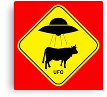 UFO traffic hazard sign Canvas Print