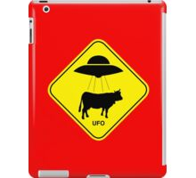 UFO traffic hazard sign iPad Case/Skin