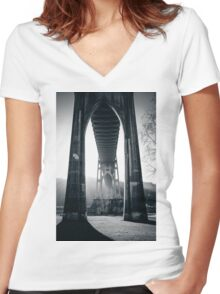 Under St. John's Bridge Women's Fitted V-Neck T-Shirt