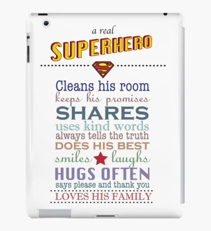 real superhero - family plaque in white iPad Case/Skin