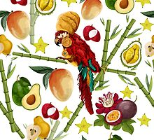 Vector seamless pattern with tropical elements by Maryna  Rudzko