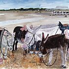"""A Well Earned Rest"" - Donkeys on Burnham Beach, Somerset by Timothy Smith"