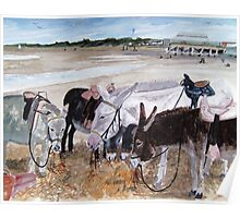 """A Well Earned Rest"" - Donkeys on Burnham Beach, Somerset Poster"