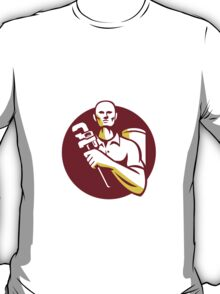Plumber Monkey Wrench Front Circle Retro T-Shirt